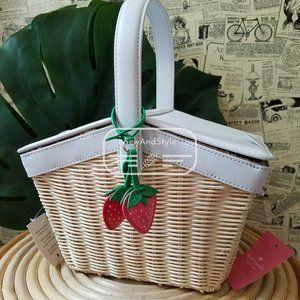 Kate Spade NWT Picnic Strawberry Wicker Basket cream white red Crossbody